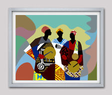 Art Traditional Africa Drummer Music Instrument Nigeria Painting Poster Decor