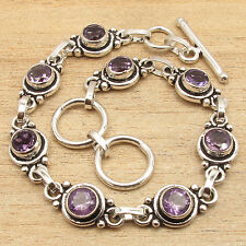 """7 1/2"""" ! 925 Silver Plated Natural Amethyst Gems Delicate Jewellery Bracelet"""