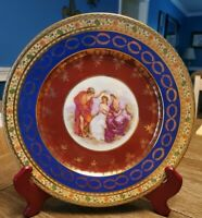 "JKW Fine Porcelain 10"" plate 22 carat gold plated Angelica Kauffman 1930 W.Ger"