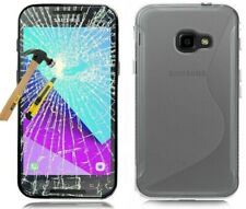 Samsung Galaxy Xcover 4 4s Case Silicone Clear Case+Protective Foil Glass