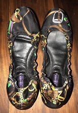 Ralph Lauren Collection Purple Label Horse Bit Fabric Leather Flats Shoes 39 9 M