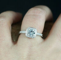 2 Ct Cushion Cut Sim Diamond 14K White Gold Over Halo Antique Engagement Ring
