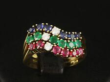 Schöner Smaragd Rubin Saphir Brillant Ring ca. 1,59ct 750/- Gelbgold