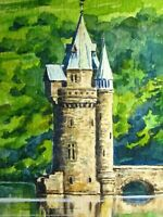 Watercolor Painting Old Castle Lake Beautiful Nature ACEO Art