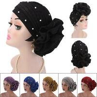 Women Muslim Cancer Chemo Hat Hair Loss Head Scarf Flower Shiny Pearl Turban Cap