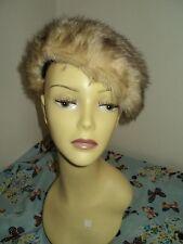 Vintage Ladies French Beret Beanie Brown/Beige faux fur hat size 55cm