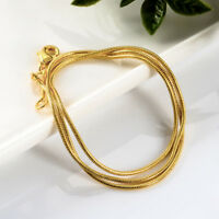 Wholesale Women Men 1.2mm 1pc 18K Gold Plated Snake Chain Necklace 16-30inch