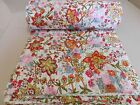 White Kantha Quilt Twin Size Floral Bedspread Handmade Blanket Bedding Indian