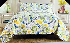 New King Cynthia Rowley Cottage Floral Spring Summer 3 Piece Quilt Shams Set