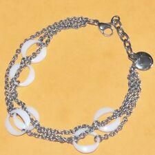 Uc Bracelet multi-rangs en acier (coul argent ) et céramique blanche bijou