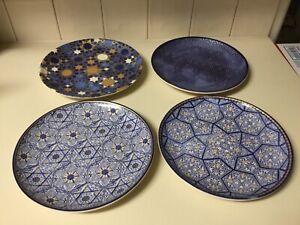 4  Rare  Williams Sonoma Hanukkah Blue Mosaic Salad Plates