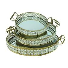 3-PIECE ROUND DECORATIVE TRAY SET METAL CRYSTAL SERVING KITCHEN HOME ACCENT