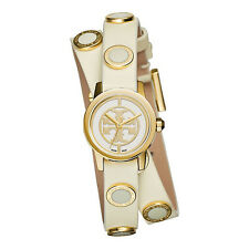 NEW Tory Burch Reva Double Wrap Stud Gold Ivory Ladies watch TRB4015 SWISS MADE