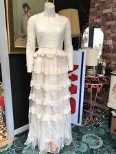 Original Victorian 1920s Vintage Lace Long Sleeved Wedding Dress Size XS