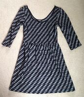 Women's BeBop Black Gray Scoop Neck 3/4 Sleeve Knit Dress~Size Medium~NWOT
