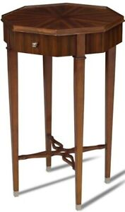 SCARBOROUGH HOUSE OCCASIONAL TABLE OCTAGON ROSEWOOD  NICKEL PLATED BRASS