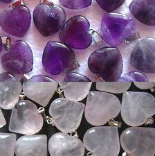 Lot 2 Pendentifs Coeur Quartz Rose (18X18mm) ou Améthyste (20X20mm) en pierre