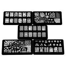 Vernis Stamping 5 Plaques Timbre Pochoir en Métal Image Ongle Manucure