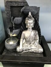 Indoor Water Feature Indoor Water Fountain Majestic Silver Buddha Fountain H28cm
