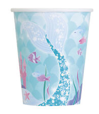 MERMAID 9oz PAPER CUPS (8) ~ Birthday Party Supplies Beverage Drinking Beach Sea