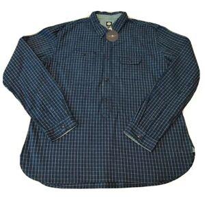 BNWT NEW MOD BLUE CHECKED PART BUTTON SHIRT TOP PRETTY GREEN LIAM GALLAGHER XXL