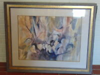 Vintage Modern Abstract Floral Watercolor Listed Artist Signed B. Nechis