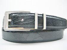 Sterling silver 925 buckle 2 loops w/Genuine Ostrich 30 mm belt shantpeter U.S.A