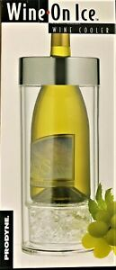 Prodyne Wine on Ice, Single Bottle Wine Cooler- Chrome Rim-Dbl.Insulated