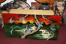 Vintage Japan China 4 Panel Hand Painted Divider Birds Of Paradise Trees Inlay