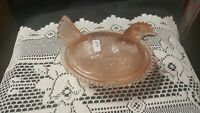 Pink Depression Glass Hen on a Nest Indiana Glass