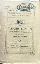 1876 Prose di Giacomo Leopardi, Torino, Tipografia e libreria dell'oratorio