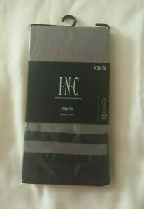 Women's INC International Concepts Striped Mock Thigh-High Tights Black XS/S