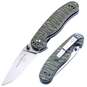 Custom Rat Ball Bearing Green G10 Satin D2 Steel Blade Tactical Folding Knife