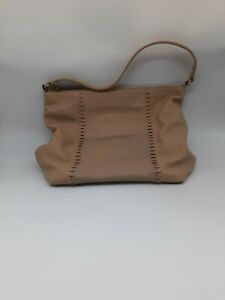 Tommy Bahama Leather Shoulder Bag Stitch Detail Tan Beach Casual