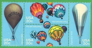 Hot Air Balloons Block of Four 20 Cents Stamps, Scott 2032-2035. MNH-OG.