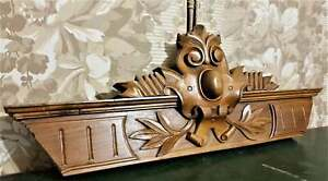 Scroll leaves crowned wood carving pediment Antique french architectural salvage