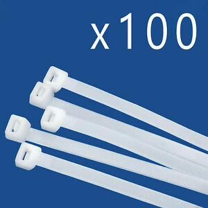 """100 Pack Lot Pcs Qty - 14"""" Inch Nylon Cable Zip Wire Tie 50 lbs - Natural White"""