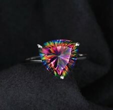 Engagement 925 Silver Ring New Sz 6 4.3ct Lab Created Triangle Fire Mystic Topaz