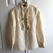 Anna Sui For Target Ivory Long Sleeve Blouse Lace Trim Ruffle Striped Women's XS