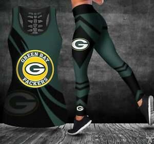 Green Bay Packers 2PCS Tank Top Leggings Women High Waist Butt Lift Yoga Pant #1