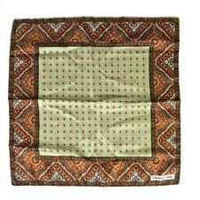 Christian Dior Green Brown Paisley Silk Pocket Square Handkerchief 18'' Hand Hem