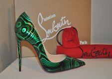 Christian Louboutin So Kate Pointy Toe Pump Shoe 38 Green Black MALACHITE Swirl