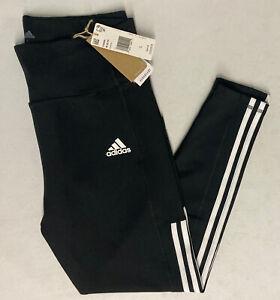Adidas Womens High Rise LARGE Aeroready 7/8 Length Legging BLACK Tight 3 Stripe