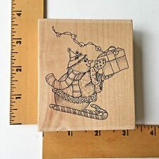 Impression Obsession Rubber Stamp - Sledding Snowman G7695 - NEW