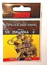 Tronix Pro Interlock Snap Swivel Size 1/0 - 25kg / 55lb (8 Pack)