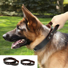 Brown Leather Dog Collars with Handle Quick Control For Medium Large Dogs Brown