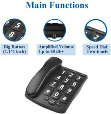 Black Amplified Big Button Telephone Phones Handsfree For Hearing Impaired Aids