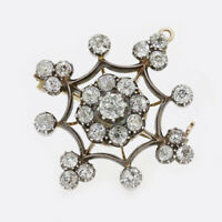 Victorian 3.40 Carat Diamond Cluster Brooch Pendant 15ct Gold, Silver Set