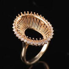Natural Diamond Semi Mount Halo Ring Setting Oval 13x18mm Solid 18K Yellow Gold