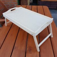 Wooden Breakfast Food Serving Lap Tray With Folding Legs For Bed, Unpainted